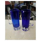 Box with 2 blue glass pitchers made in Poland