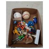 Box of toys,signed baseballs