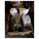 Box of lamps and stuffed animals