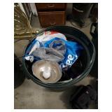 Barrel of light bulbs and garage items