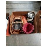 Box of baskets and juicer