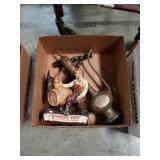 Box of brass peace and Brewers on figurine
