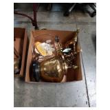 Box of brass lamps horse and signed fruit bowl