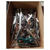 Box of flatware, knives