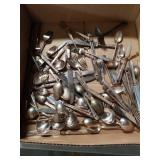 Box of silver plated flatware
