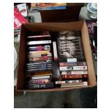 Box of VHS and DVD movies