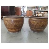 Pair of Asian dragon flower pots