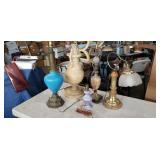 Group of five vintage table lamps