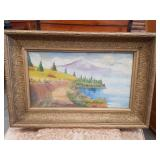 Antique oil painting on board signed lower right