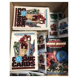 Box of dc collectible comic cards, comic book