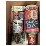 Box of vintage containers