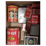 Box of vintage containers, tins