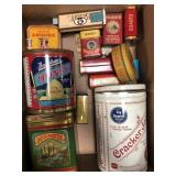 Box of vintage tins, containers