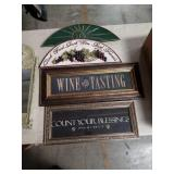 Box of wine signs etc