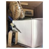 Box with Wilson glove, envelopes, dirty words