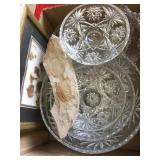 Box of glass bowls, fossils