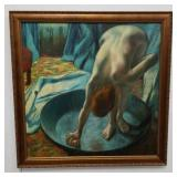 Oil on canvas painting nude lady scrubbing the tub