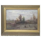 Victorian signed landscape oil painting on board