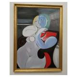 Signed oil on canvas painting of a nude woman