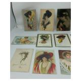 Art Nouveau ladies w/hats post cards 50pcs