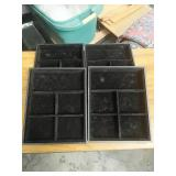 Box of 4 black jewelry display trays 9.75x7.75""