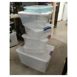 Big bundle of 6 Sterilite plastic containers