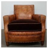 Western style leather occasional chair