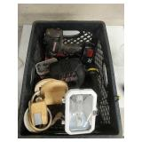 Crate of tools, motion light, misc