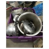 Large tub of kitchen pots pans misc etc