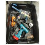 Tub of drills and tools