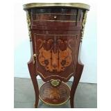 Marquetry commode approx 16in x 31in x 16in