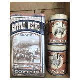 Box of decorative western canisters