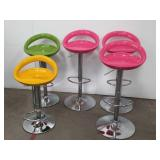 Group of 5 hydraulic modern bar stools