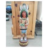 Vintage Native American wooden cigar statue