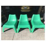 Three Green Lounge Chairs