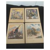 Set of 4 print illustrations of World War One