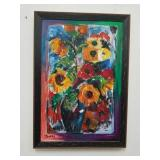 Signed floral oil painting on canvas