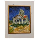 Oil on canvas painting of a church