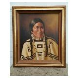 Signed oil painting of a Native American