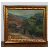 Antique oil painting on board Forest/mountain