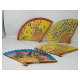 Vintage Asian hand fans group of 4 in a box