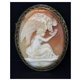 Antique cameo Girl and Swan