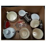 Box of mugs coffee cups etc