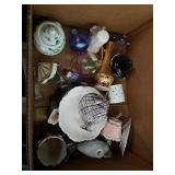 Box of ornaments etc