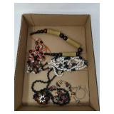Box of beaded jewelry