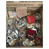 Box of Costume Jewelry- Some Silver