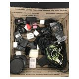 Box of Chargers/Chords/BLuetooth Speaker