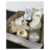 Box of misc Angels- clocks- vases