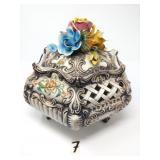 "italian porcelain flower top jar approx.9.5""x10.5"""