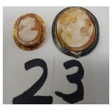 2 vintage cameo pins